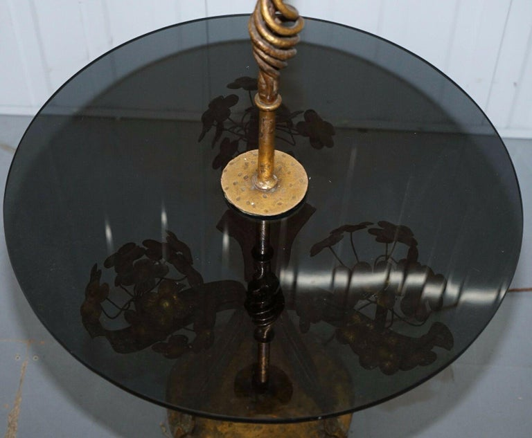 Post-Modern Stunning Gold Leaf Floral Painted Smoked Glass Side Table with Built in Lamp For Sale