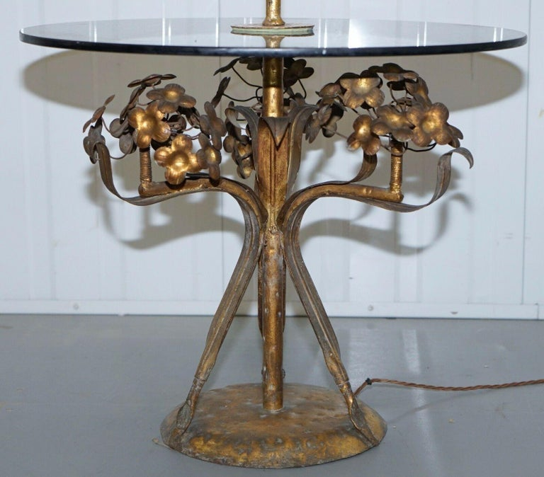 Stunning Gold Leaf Floral Painted Smoked Glass Side Table with Built in Lamp For Sale 1