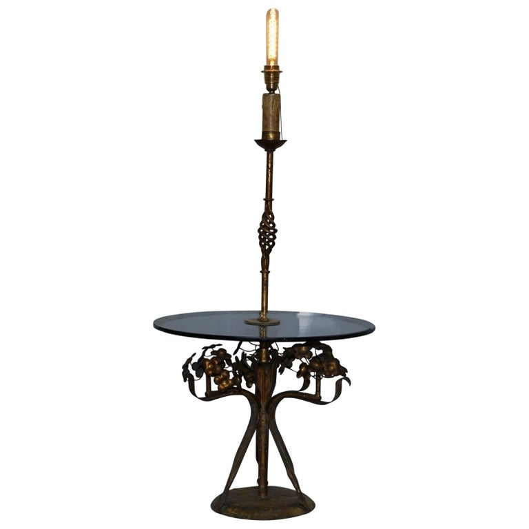 Stunning Gold Leaf Floral Painted Smoked Glass Side Table with Built in Lamp For Sale
