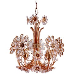 Stunning Gold-Plated and Cut Crystal Chandelier by Palwa, Germany, circa 1970