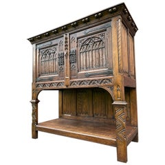 Stunning Gothic Revival Cabinet / Credenza with Hand Carved Church Windows