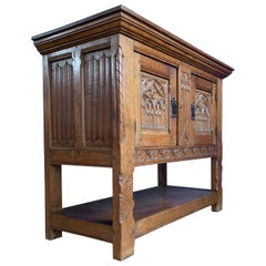 Stunning Gothic Revival Sideboard/Small Credenza with Hand Carved Church Windows