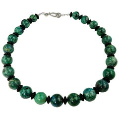 Stunning Graduated Round Chrysocolla and Black Smooth Polished Onyx Necklace