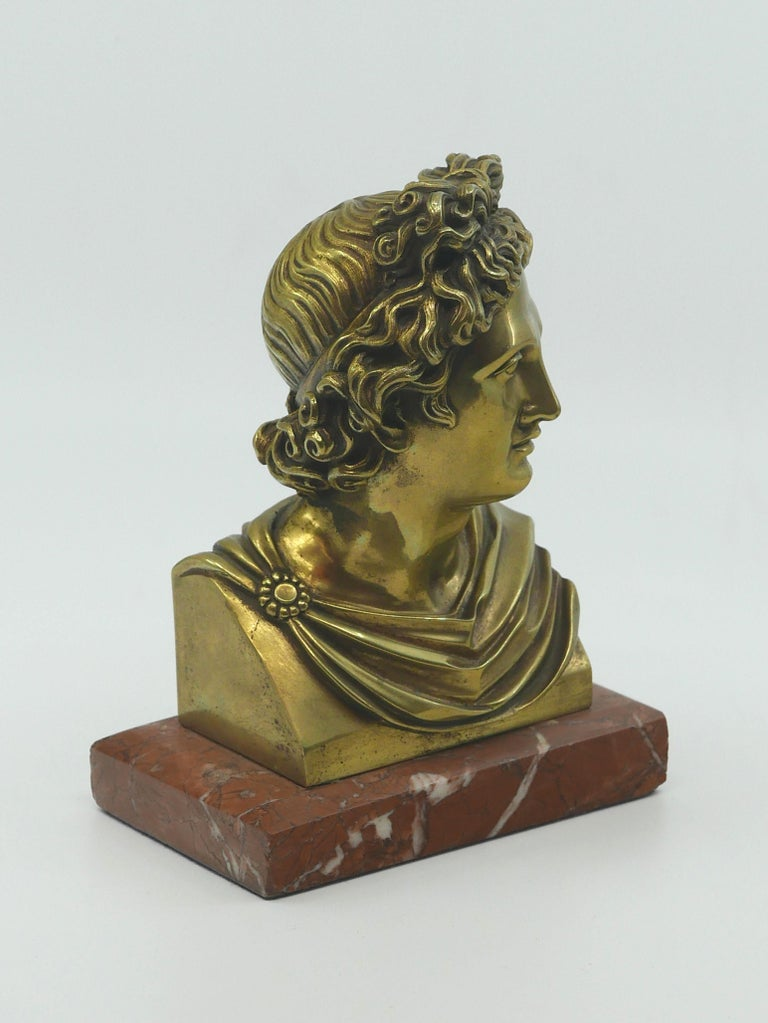 A wonderful polished bronze bust on a marble base, perfect for a curio cabinet, desk or bookshelf. so many places this would look stunning. The casting and chasing of this bronze is nearly perfect and what is not to love about the old label on the