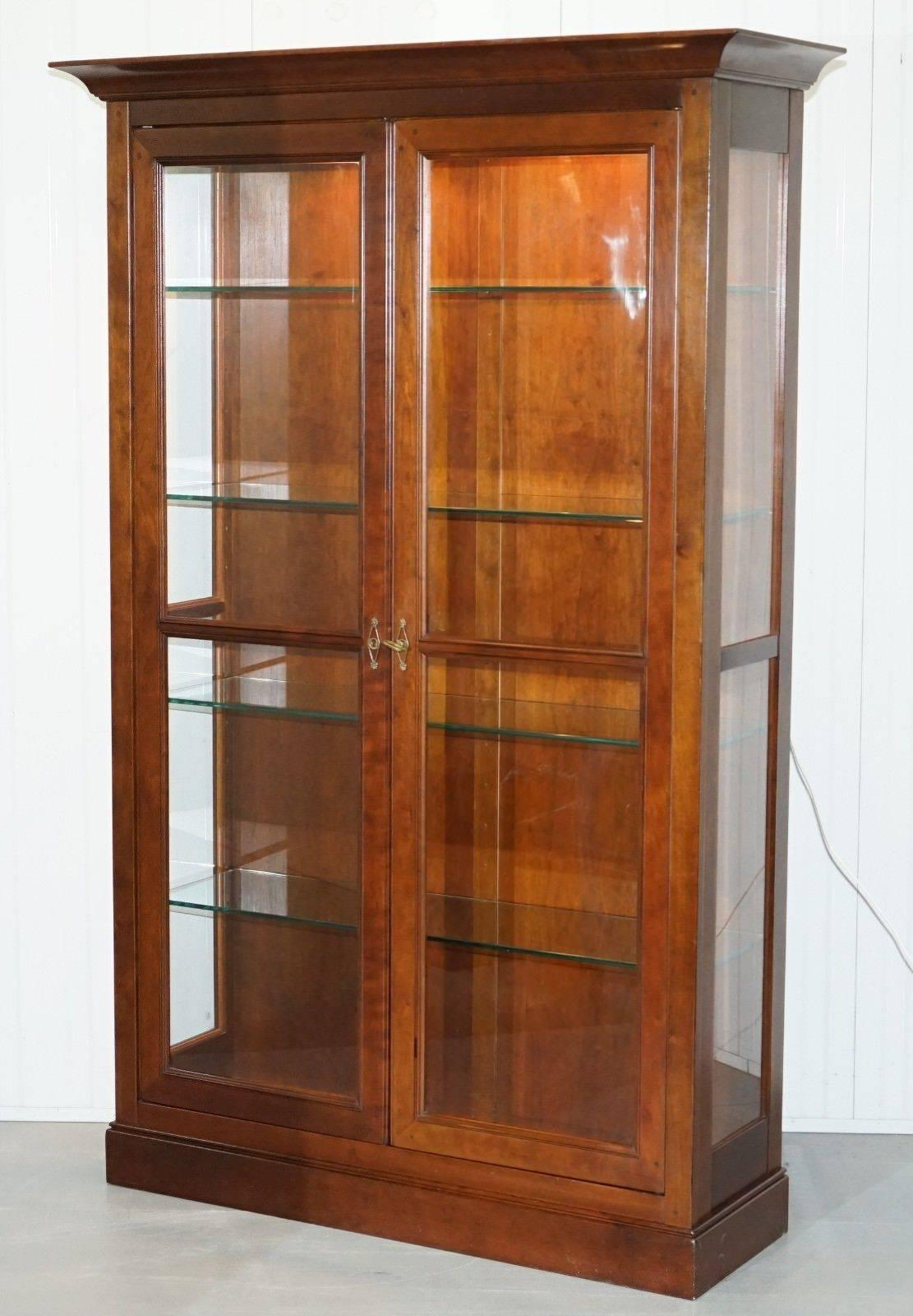 French Provincial Stunning Grange Solid Cherry Wood Glass Display Cabinet  With Lights Bookcase For Sale