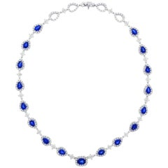 Stunning Gregg Ruth Sapphire and Diamond White Gold Necklace