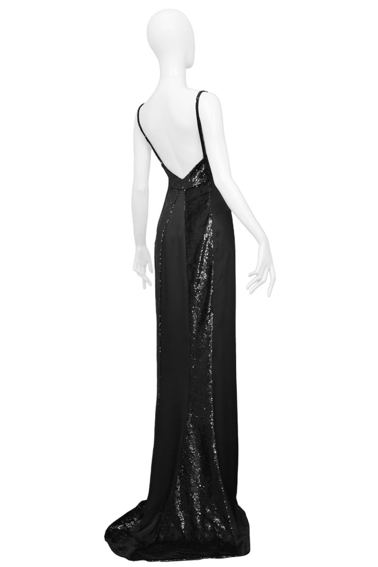Stunning Gucci by Tom Ford Black Satin & Sequin Evening Gown 1999 In Excellent Condition For Sale In Los Angeles, CA