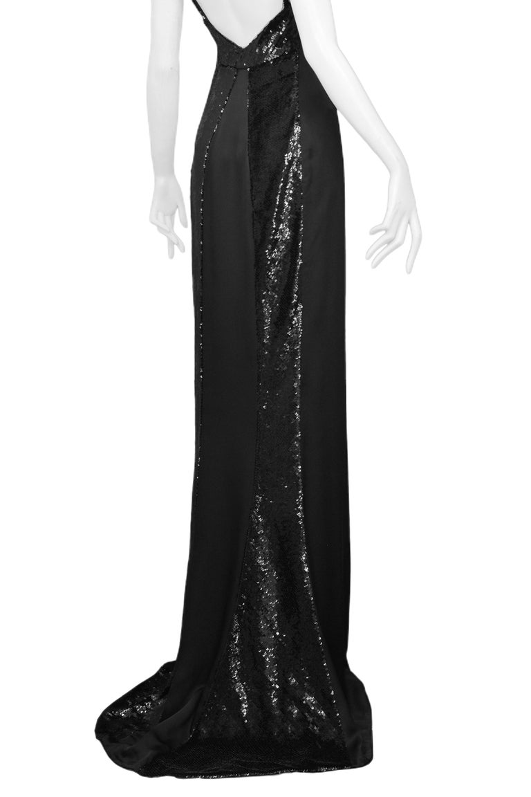 Women's Stunning Gucci by Tom Ford Black Satin & Sequin Evening Gown 1999 For Sale