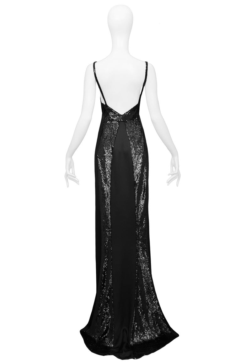 Stunning Gucci by Tom Ford Black Satin & Sequin Evening Gown 1999 For Sale 1
