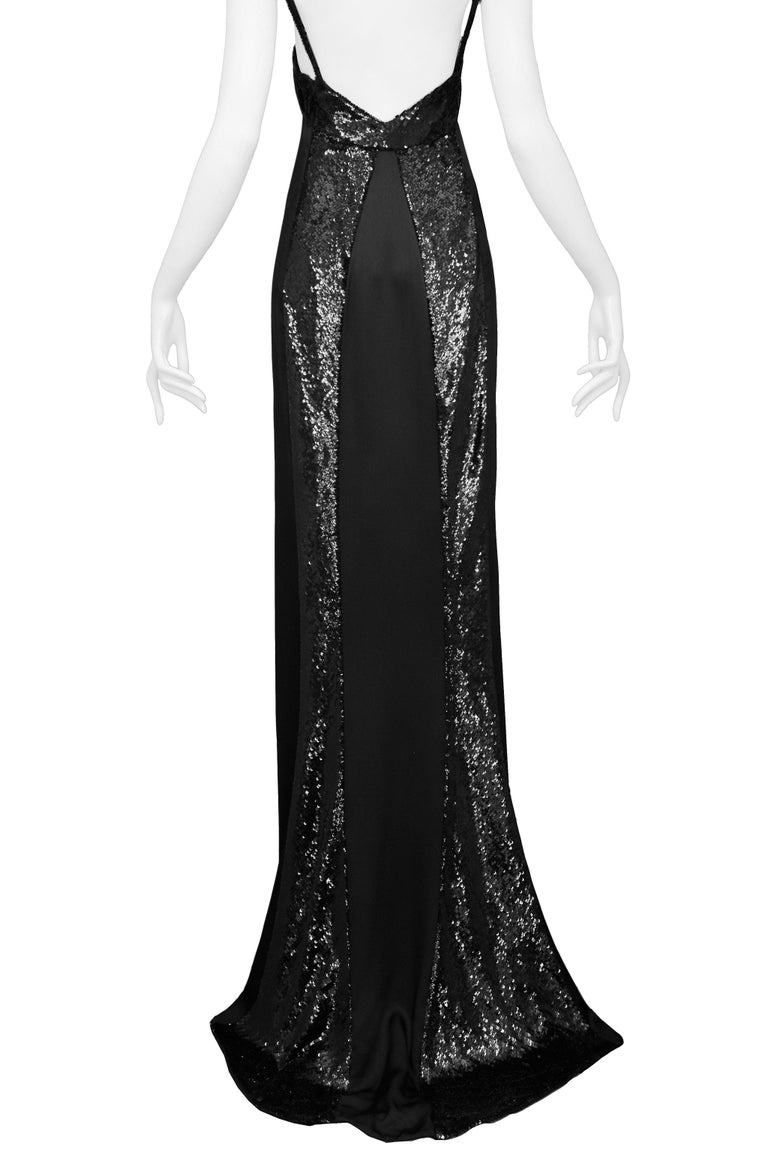 Stunning Gucci by Tom Ford Black Satin & Sequin Evening Gown 1999 For Sale 2