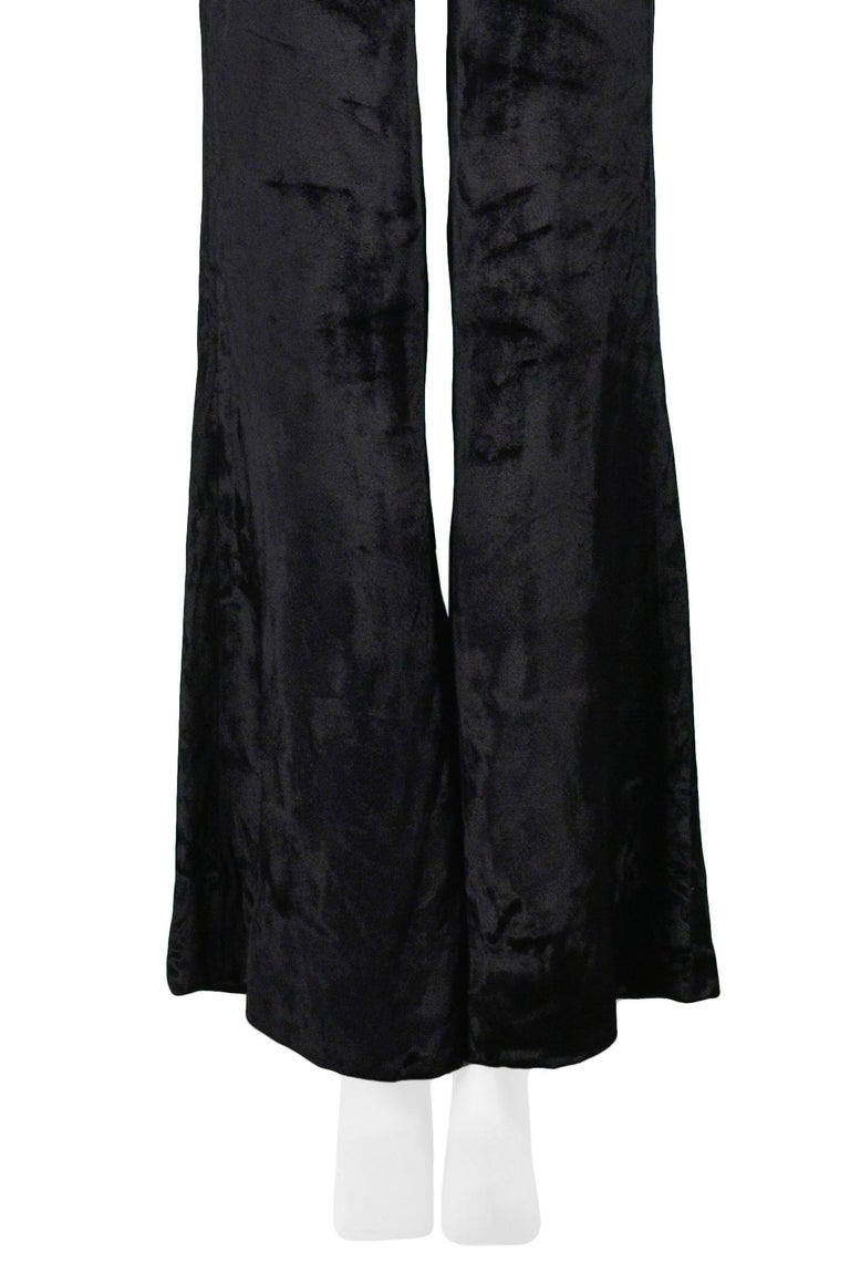 Stunning Gucci by Tom Ford Black Velvet Flare Pants For Sale 1