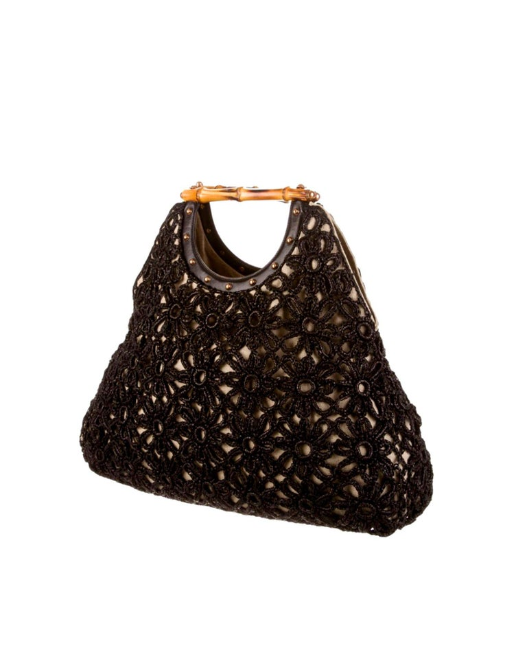 Black Stunning GUCCI Knitted Leather Macrame Bamboo Handbag Top Handle Bag Tote Studs For Sale