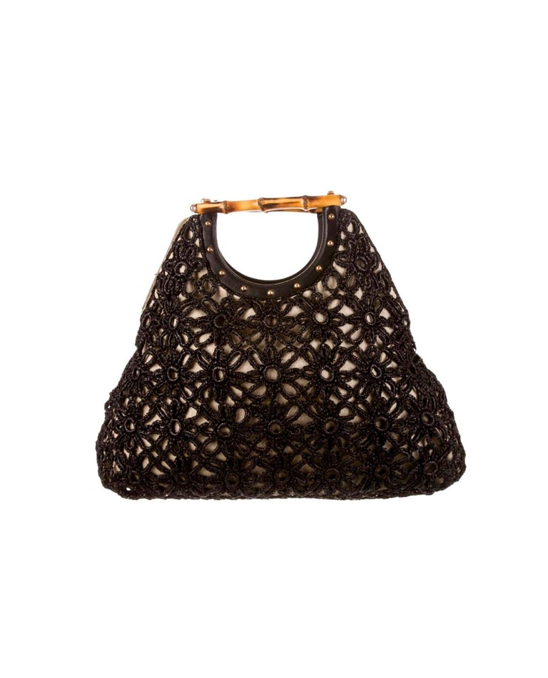 Stunning GUCCI Knitted Leather Macrame Bamboo Handbag Top Handle Bag Tote Studs In Excellent Condition For Sale In Switzerland, CH