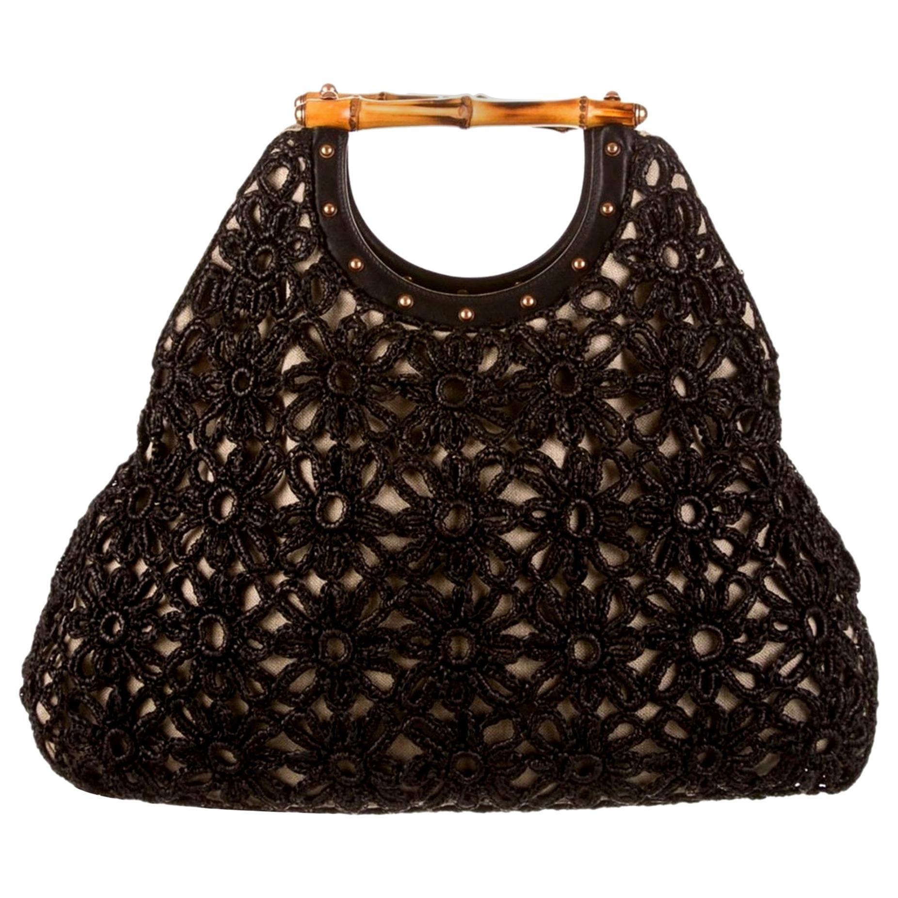 Stunning GUCCI Knitted Leather Macrame Bamboo Handbag Top Handle Bag Tote Studs
