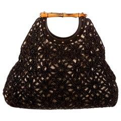 Stunning GUCCI Studded Macrame Leather Bamboo Handbag Bag Tote