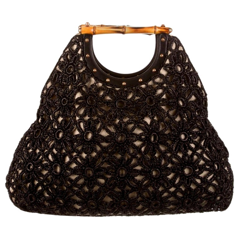Stunning GUCCI Knitted Leather Macrame Bamboo Handbag Top Handle Bag Tote Studs For Sale