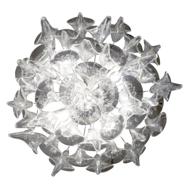 Mid-Century Modern Stunning Hand Blown Chandelier in Pulegoso Glass 1970s For Sale