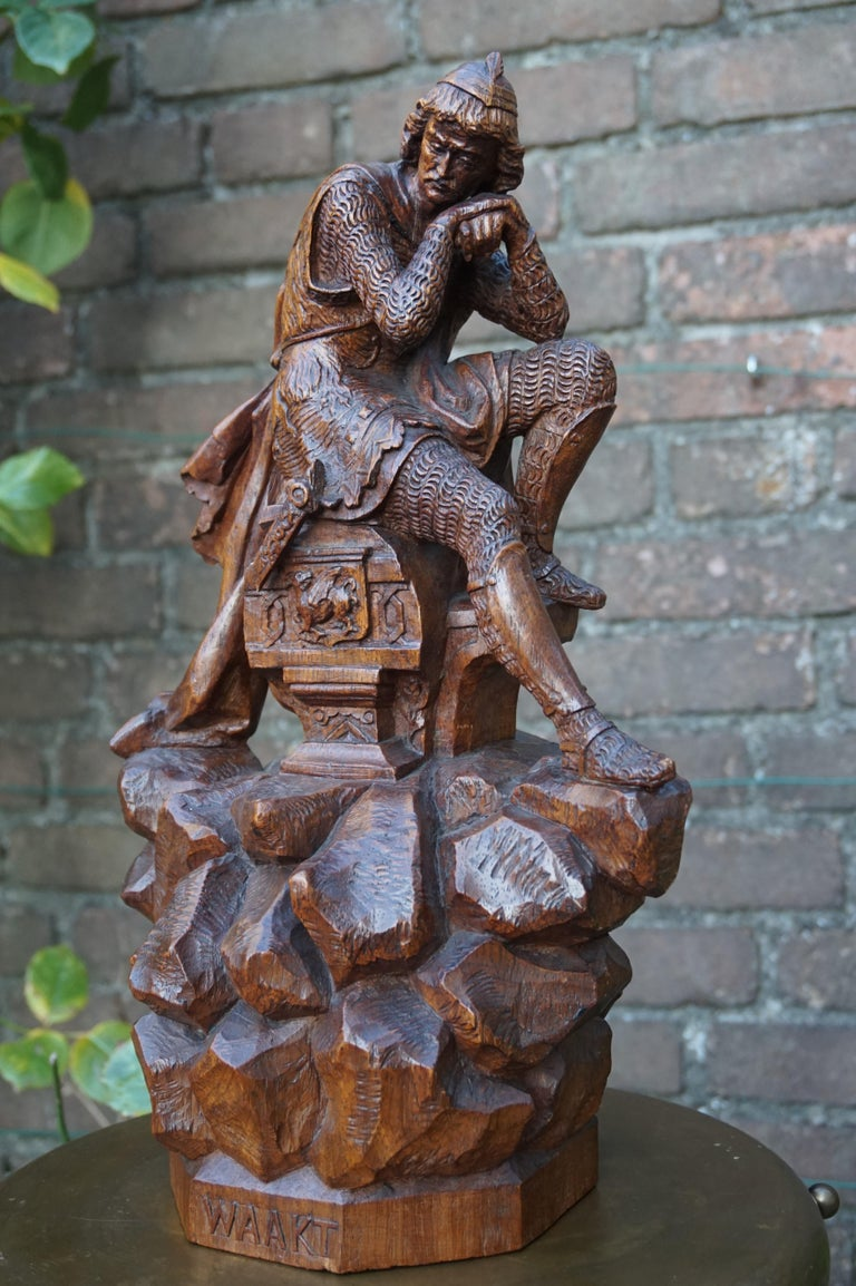 Stunning Hand Carved Early 20th Century Wooden Knight Sculpture by E. Moens For Sale 6