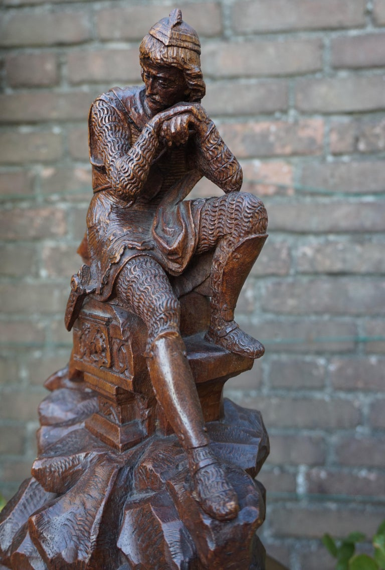 Stunning Hand Carved Early 20th Century Wooden Knight Sculpture by E. Moens For Sale 7