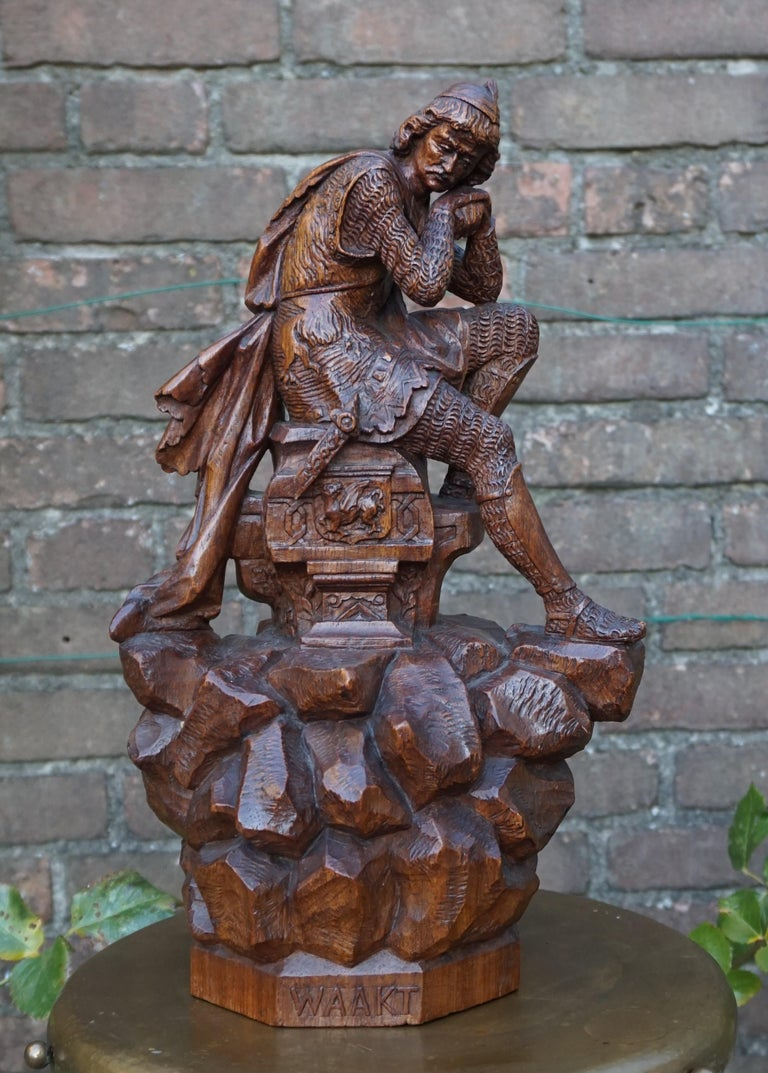 Stunning Hand Carved Early 20th Century Wooden Knight Sculpture by E. Moens For Sale 10