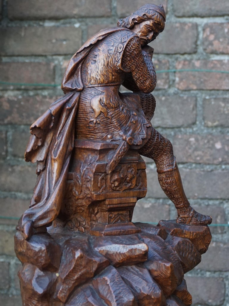 Stunning Hand Carved Early 20th Century Wooden Knight Sculpture by E. Moens For Sale 12