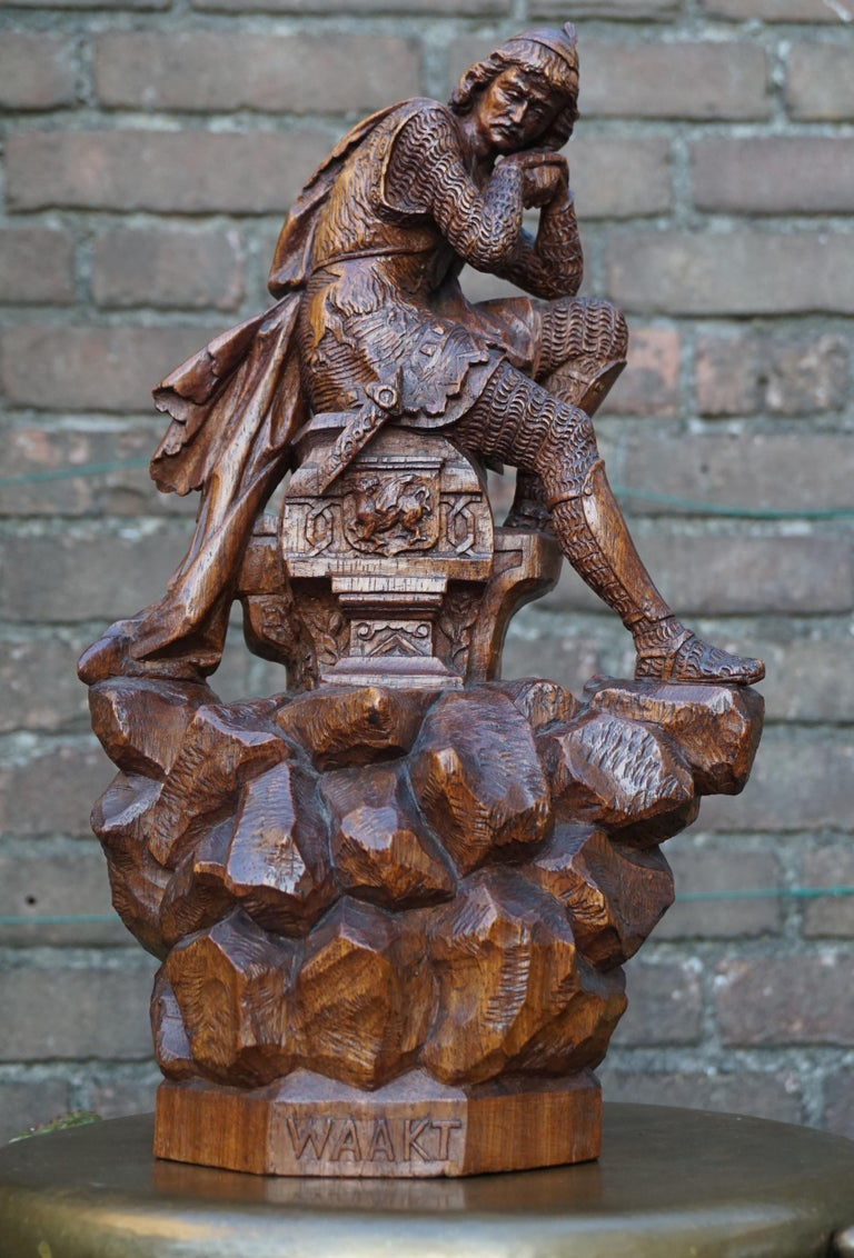 Stunning Hand Carved Early 20th Century Wooden Knight Sculpture by E. Moens For Sale 13
