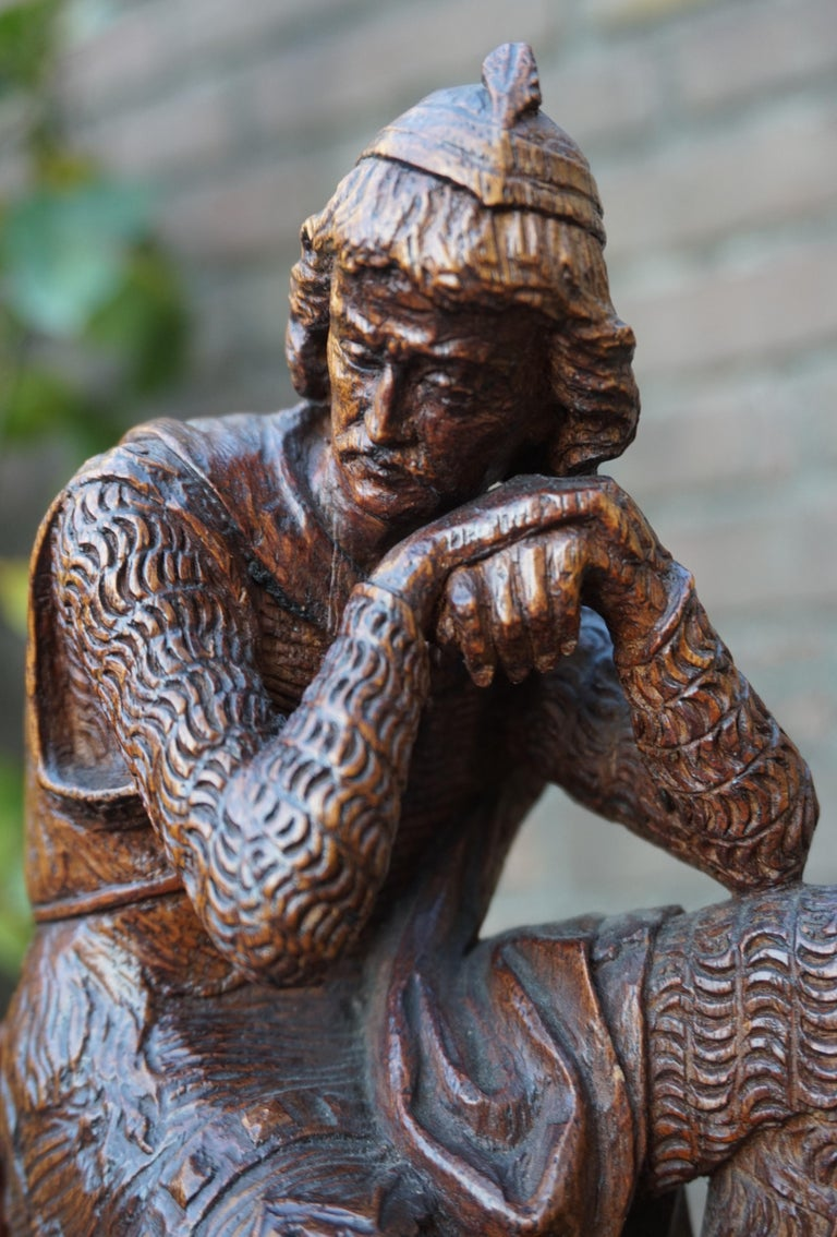 European Stunning Hand Carved Early 20th Century Wooden Knight Sculpture by E. Moens For Sale