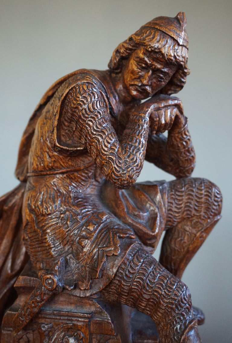 Hand-Carved Stunning Hand Carved Early 20th Century Wooden Knight Sculpture by E. Moens For Sale