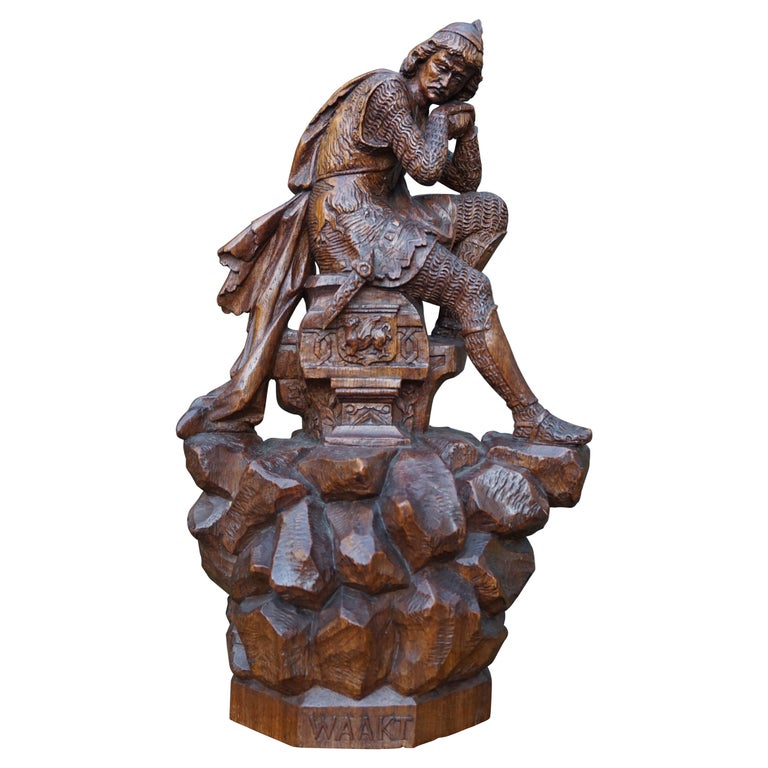 Stunning Hand Carved Early 20th Century Wooden Knight Sculpture by E. Moens For Sale