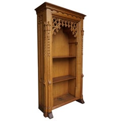Stunning Hand Carved Light Oak Antique Gothic Revival Bookcase / Shrine Cabinet