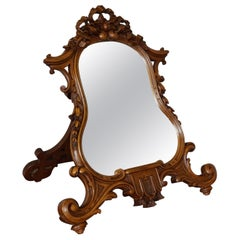 Stunning Hand Carved Nutwood Table Mirror by Guéret Frères, Parisian Top Makers