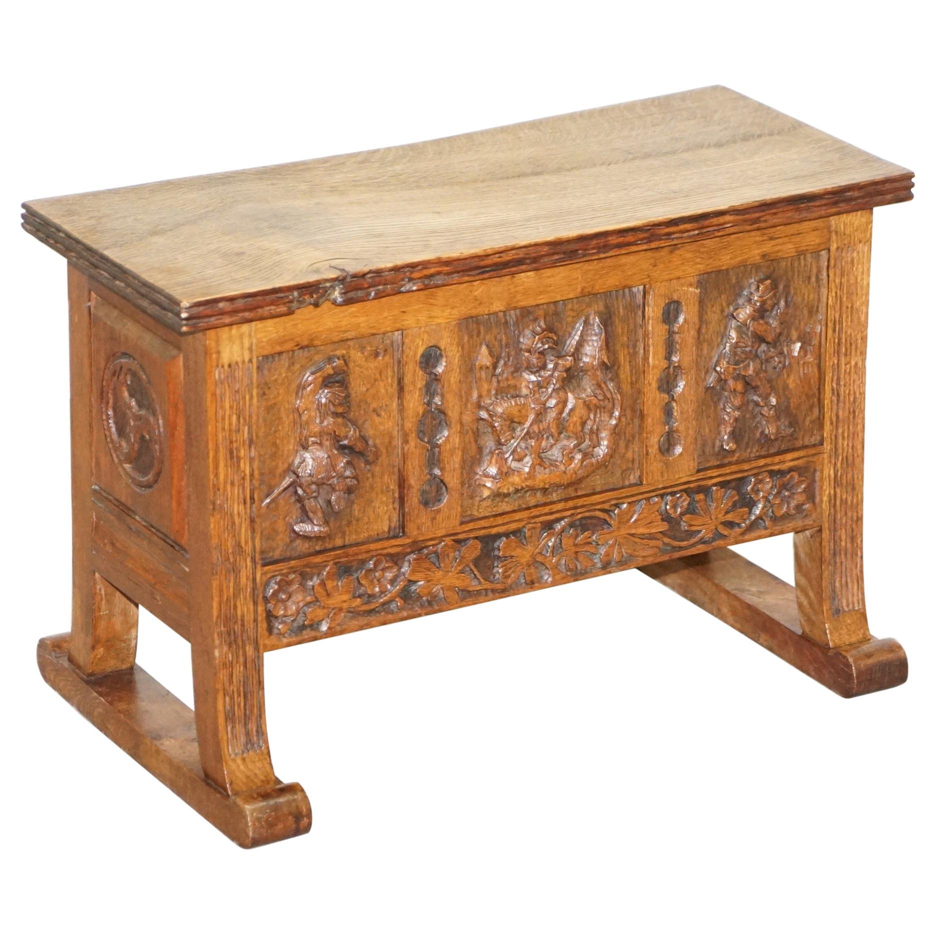 Stunning Hand Carved Oak Chest, Bench, Trunk circa 1840 Danish Internal Storage