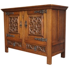 Stunning Hand Carved Oak Gothic Sideboard / Practical Size Credenza with Drawers