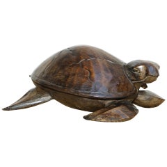 Stunning Hand Carved Vintage Wood of Sea Turtle, Back Lifts Up Small Compartment