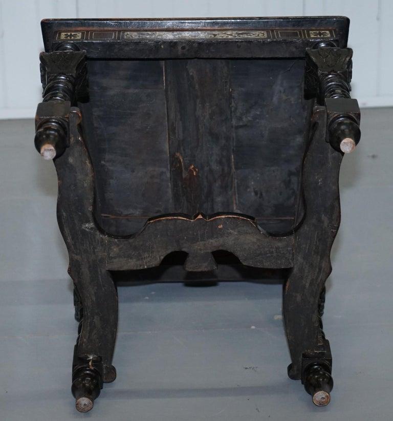 Stunning Hand Made Italian 19th Century Ebonised & Bronze Chairs 17th Century For Sale 8