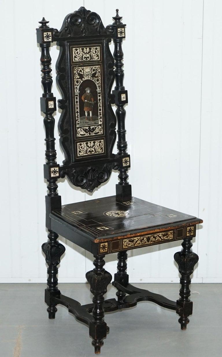 Stunning Hand Made Italian 19th Century Ebonised & Bronze Chairs 17th Century For Sale 9