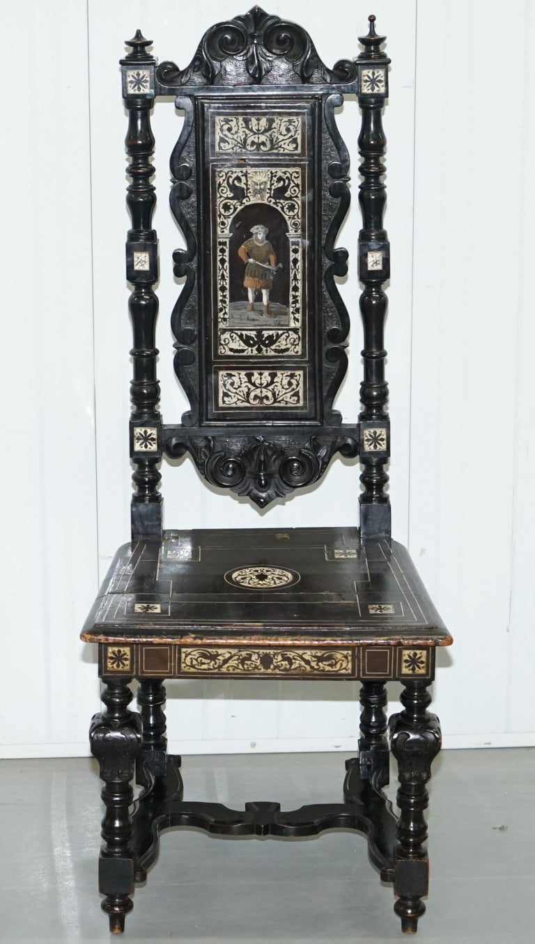 Stunning Hand Made Italian 19th Century Ebonised & Bronze Chairs 17th Century For Sale 10