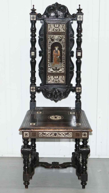 Aesthetic Movement Stunning Hand Made Italian 19th Century Ebonised & Bronze Chairs 17th Century For Sale