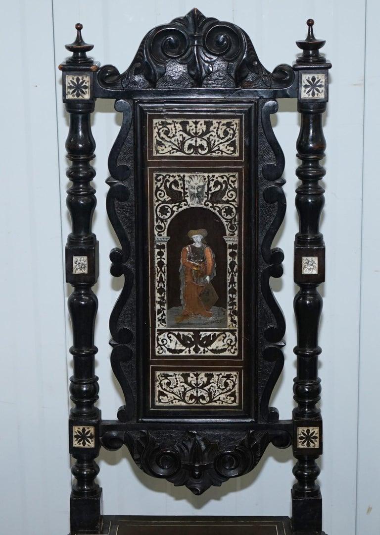 Stunning Hand Made Italian 19th Century Ebonised & Bronze Chairs 17th Century For Sale 1