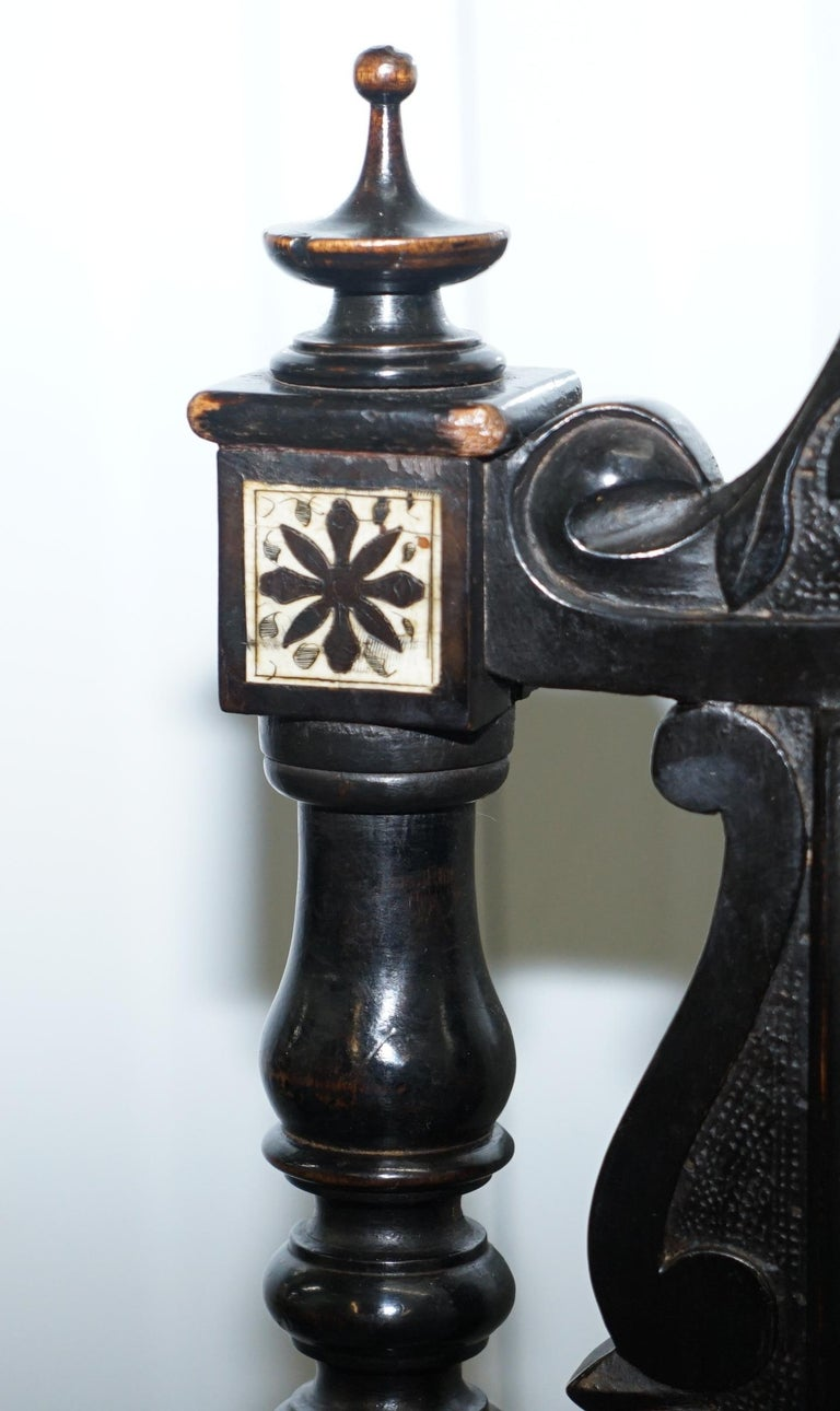 Stunning Hand Made Italian 19th Century Ebonised & Bronze Chairs 17th Century For Sale 2