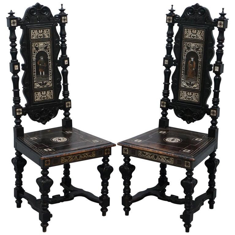 Stunning Hand Made Italian 19th Century Ebonised & Bronze Chairs 17th Century For Sale