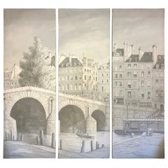 Stunning Hand Painted Triptych of the Ile St. Louis River Seine Paris