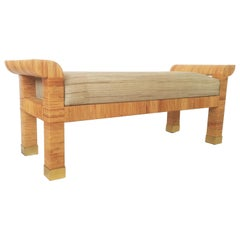 Stunning Hand-Wrapped Cane and Brass Bench by Bielecky Brothers