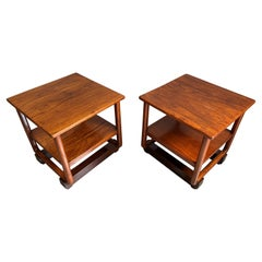 Stunning Handcrafted Pair of Dutch Colonial Art Deco End Tables of Java Teak