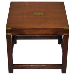 Stunning Harrods London Light Mahogany Military Campaign Lamp Side End Table