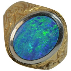Stunning Heavy 18 Carat Gold and Opal Doublet Signet Ring