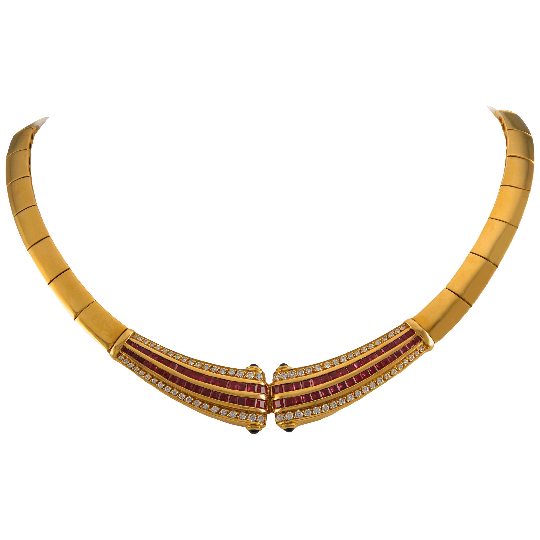 Stunning Heavy Omega 18 Karat Ruby Channel Set Diamond Necklace