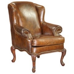 Stunning Heritage Vintage Aged Brown Leather Wingback Armchair Carved Legs