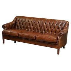 Stunning Heritage Vintage Brown Leather Chesterfield Tufted Three-Seat Sofa