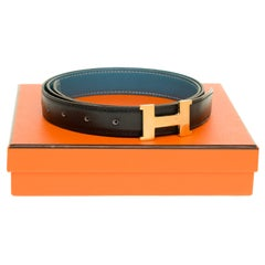 Stunning Hermès belt 24 mm reverse in black and blue jeans, H golden buckle
